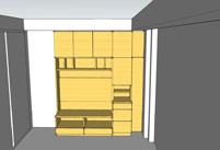 すえ木工壁面収納モデリング3Dイメージ例