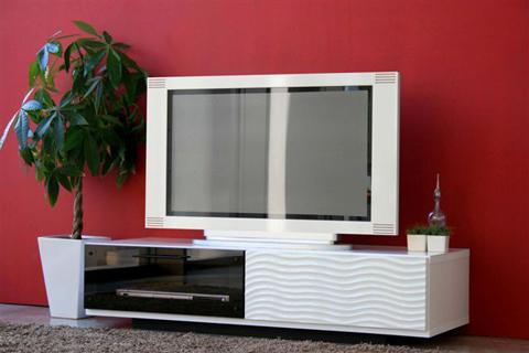 白いテレビ台  かっこいいアートデザイン白鏡面ホワイトテレビ台