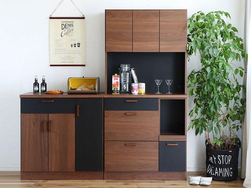 シンプル食器棚 日本製 完成品 レンジ収納 安い